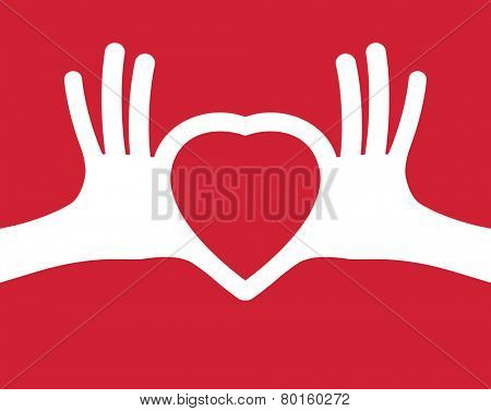 puzzle in the shape of heart in human hands. Heart in hands. Valentine's day, romance, love concept