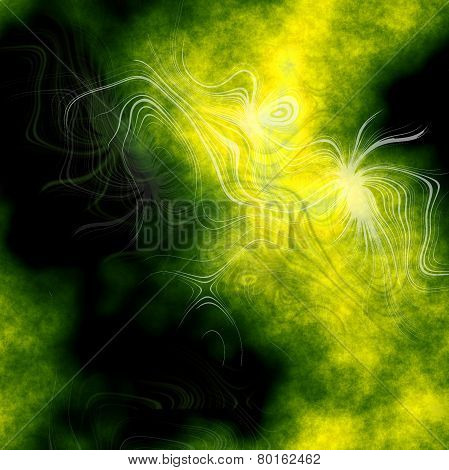 Abstract Plasmatic Background In Green And Black
