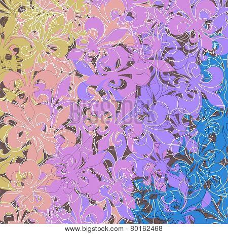Colored Fleur De Lis Pattern