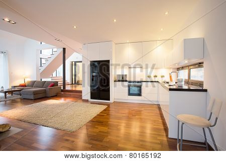 Open Kitchen And Drawing Room