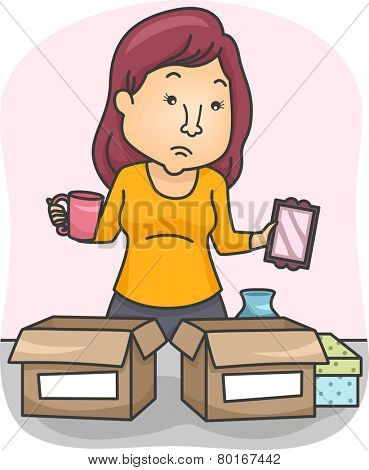 Illustration of a Woman Sorting Her Belongings and Placing Them in Boxes