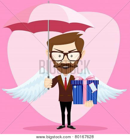 Angel Man with an umbrella Wings and Gift