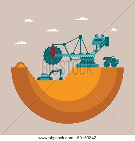 Vector Concept Of Mine At Mineral Deposit Place With Waste Heap