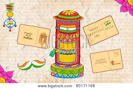 illustration of India kitsch style post box and letter poster