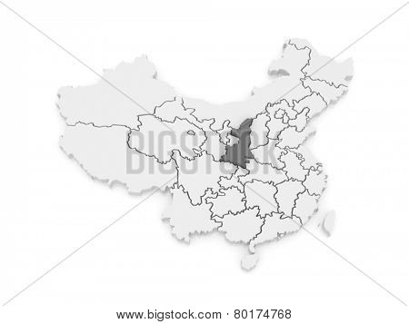 Map of Shaanxi. China. 3d