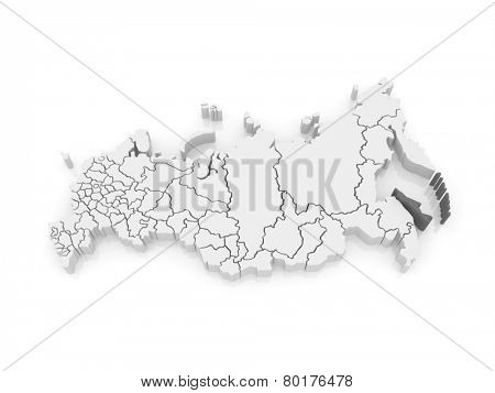 Map of the Russian Federation. Sakhalin Region. 3d poster