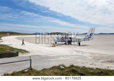 Small Plane On The Sandy Runway Of Barra Airport