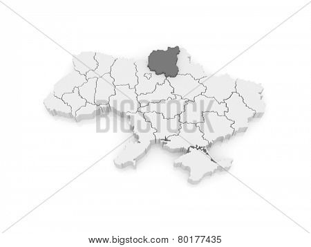 Map of Chernihiv region. Ukraine. 3d poster