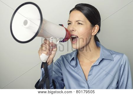 Woman Speaking Over A Megaphone