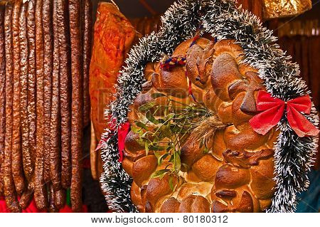Traditional Bread And Sausages From Maramures, Romania