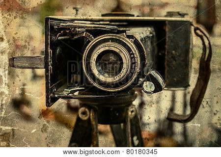 Old Photo With Old Photo Camera