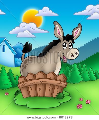Cute donkey behind wooden fence - color illustration. poster