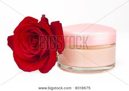 Face Cream Container And Red Rose