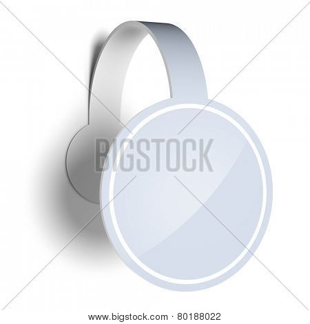 Blank template layout of white empty sticker, label or wobbler. Wobbler surface empty to place your text or logo.