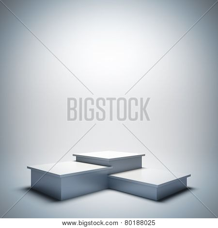 A 3d illustration blank template layout of empty white sport podium. Empty copy space to place your text, object or logo.