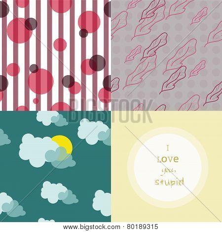 Four cute pattern is a set