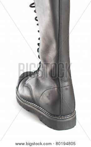 New Knee High Lace Up Black Combat Boot