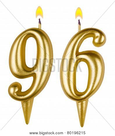 Birthday candles number ninety six isolated on white background poster