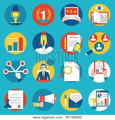 Set of management human resources and customer experience icons - vector icons poster