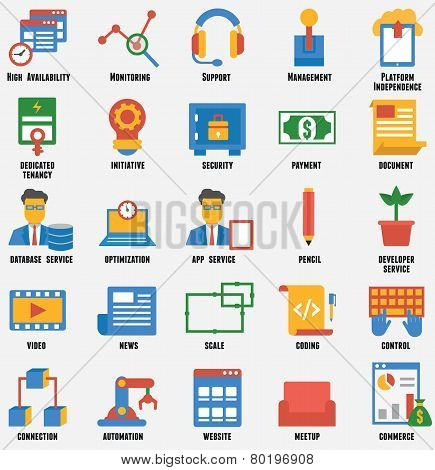 Set Of Business And Development Icons. Customer Relationship Management And Service