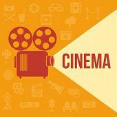 Cinema retro projector highlights word cinema. Template vector concept. poster