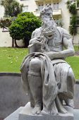 Moses statue in Myers Park Auckland. It's heritage marble copy of Michelangelo's sitting Moses statue in the church of San Pietro in Vincoli in Rome. poster