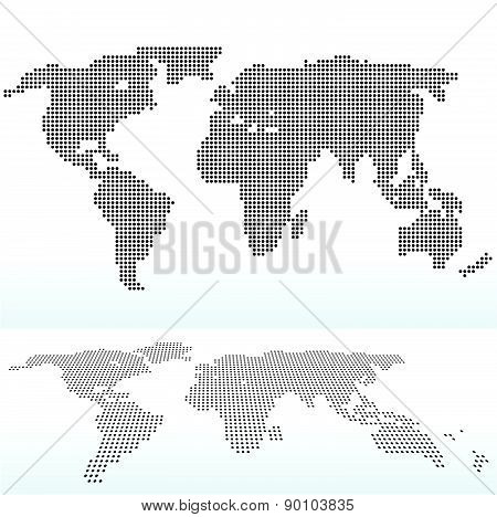 Map Of World With With Dot Pattern