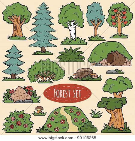 Color Vector Set Of Forest Items