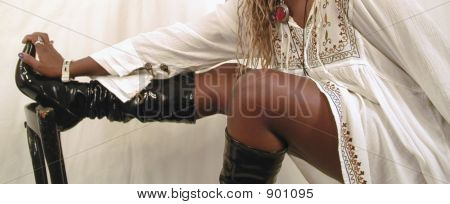 Young Woman Wearing Black Leather Boots