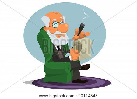 Caricature of Sigmund Freud sitting and holding his cigar and notebook poster