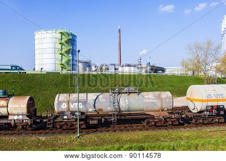 Silo In Industry Park In Beautiful Landscape Near Frankfurt