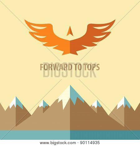 Template vector logo. Forward to tops.Tourism, mountain climbing. Background on the topic of travel, the conquest of peaks and heights. poster