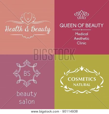 Set of vector logos and symbols for beauty, cosmetics, anti-agin