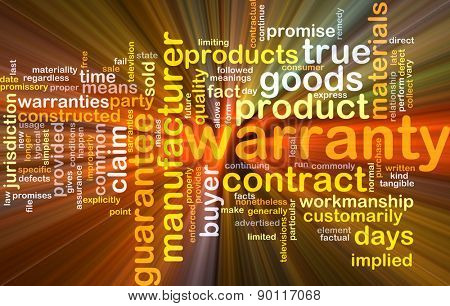 Background concept wordcloud illustration of warranty glowing light