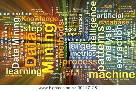 Background concept wordcloud illustration of data mining glowing light