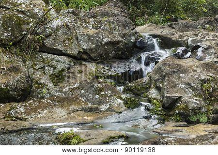 Small Falls On On Waipio Stream Along The Road To Hana