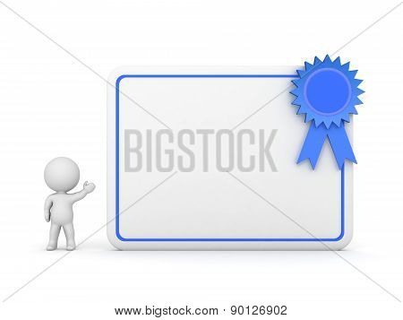 3D Character Showing Diploma with Blue Ribbon