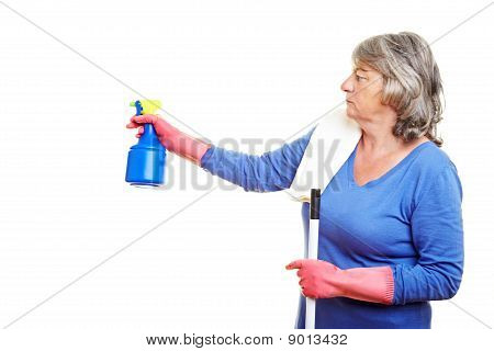 Cleaning Lady With Spray Bottle