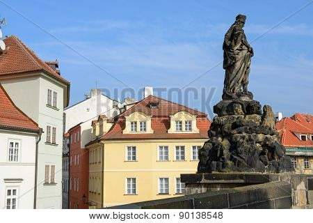 St. Vitus Statue Of Charles Bridge In Prague, Czech Republic.