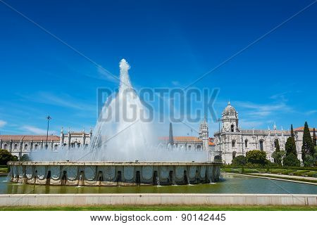 View of the Jeronimos Monastery and Fountain in Praco do Imperio Lisbon Portugal poster