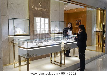 HONG KONG - MAY 05, 2015: interior of jewellery store in shopping mall. Hong Kong shopping malls are some of the biggest and most impressive in the world