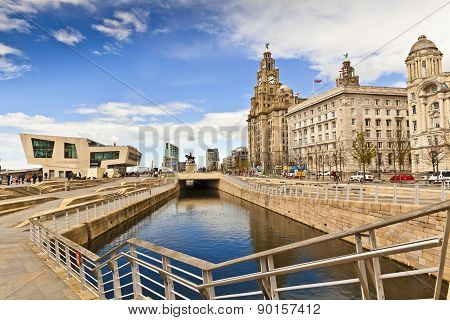 Old and new architecture at Liverpool waterfront.