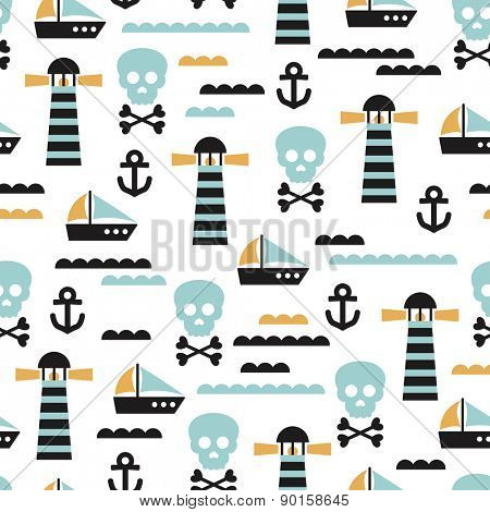 Seamless kids pirate skull and ship marine waves illustration background pattern in vector