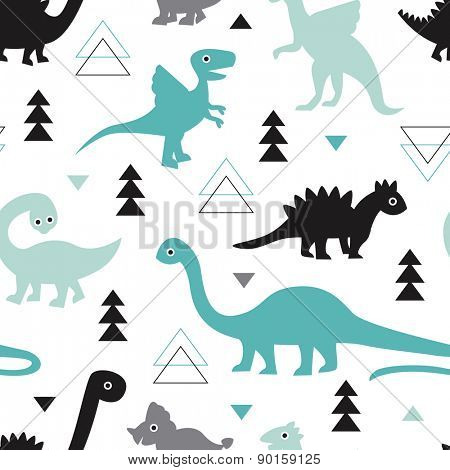 Seamless kids geometric animals dinosaur arrows and triangle illustration background pattern in vector