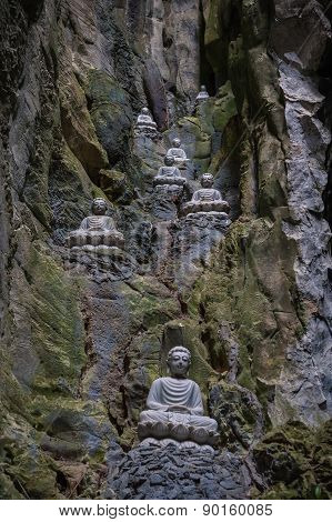 Sculptures Of Buddha Inside Am Phu Cave Danang