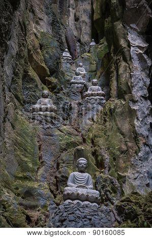 Sculptures Of Buddha Inside Am Phu Cave Danang