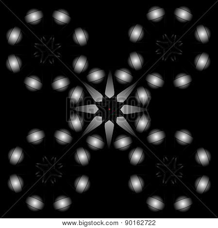 Graphic Composition With Balls On A Black Background.