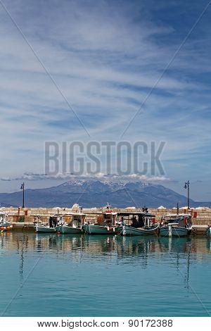 Ksilokastro Marina, Greece with Parnassos Mountain in the background