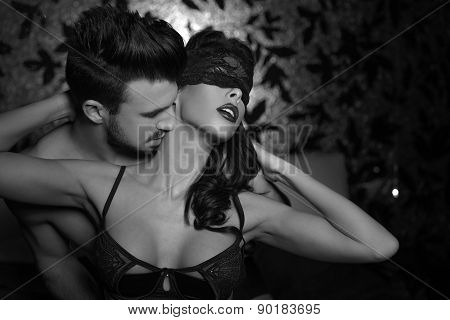 Passionate Couple Foreplay Black And White