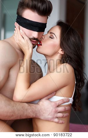 Passionate Couple Foreplay At Home